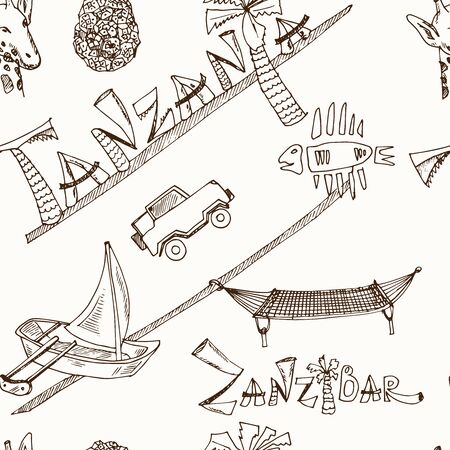 Hand drawn doodle tanzania. Vector illustration. seamless pattern