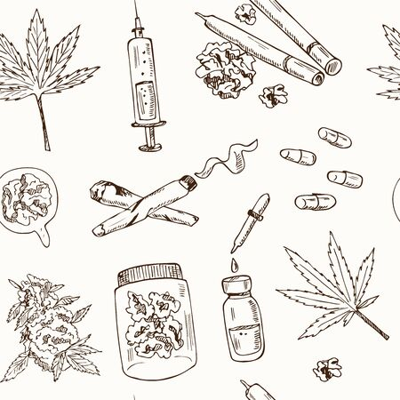 Cannabidiol icon set. Included icons as CBD, Cannabis, treatment, weed, tobacco and more. Hand drawn doodle seamless pattern. Vector illustration. Isolated elements.