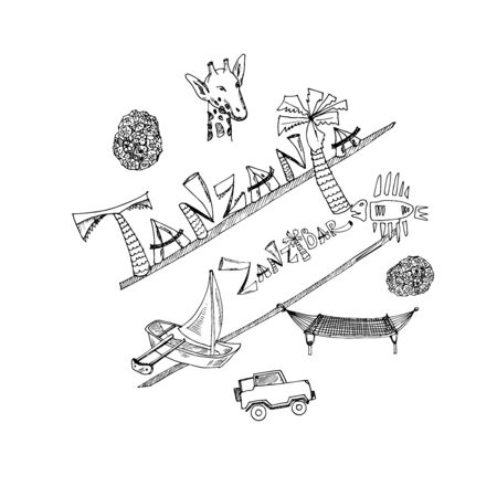 Hand drawn doodle tanzania. Vector illustration. Isolated elements Symbol collection. Иллюстрация