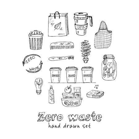 Vector Zero Waste design template set. Hand drawn doodle set. Vector illustration. Isolated elements. Symbol collection. Illusztráció