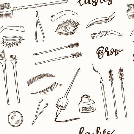 Lash and brow bar hand drawn doodle seamless pattern. Vector illustration. Isolated elements. Symbol collection.