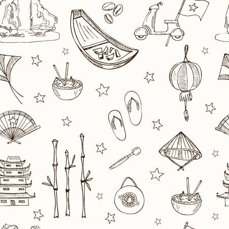 Vietnam hand drawn doodle seamless pattern. Vector illustration. Isolated elements. Symbol collection.