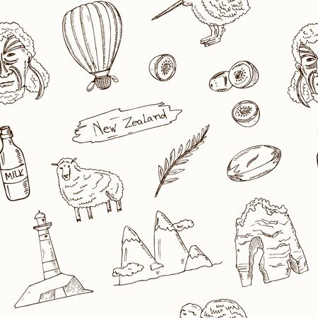 New Zealand hand drawn doodle seamless pattern. Vector illustration. Isolated elements. Symbol collection.