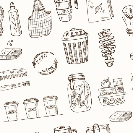 Vector Zero Waste design template set. Hand drawn doodle set. Vector illustration. seamless pattern. Illusztráció