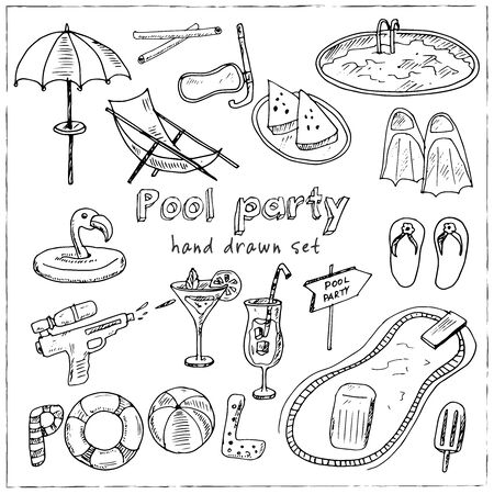 Pool Party Summer hand drawn doodle set. Vector illustration. Isolated elements on white background. Symbol collection.