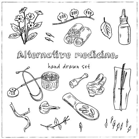 Alternative medicine hand drawn doodle set. Vector illustration. Isolated elements on white background. Symbol collection. Standard-Bild - 129126492