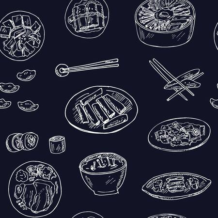 Reticolo senza giunte di doodle disegnato a mano di cibo coreano. Illustrazione vettoriale. Elementi isolati su sfondo bianco. Collezione di simboli. Vettoriali