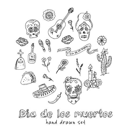 Day of the Dead (Dia de los Muertos) hand drawn doodle set. Vector illustration. Isolated elements on white background. Symbol collection.