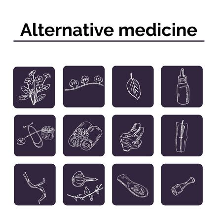 Alternative medicine hand drawn doodle set. Vector illustration. Isolated elements on white background. Symbol collection. Standard-Bild - 129126505