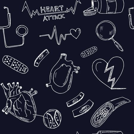 Heart attack hand drawn doodle seamless pattern. Vector illustration. Isolated elements on white background. Symbol collection.