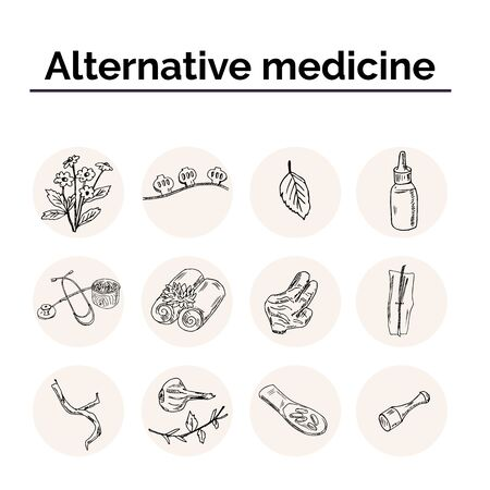 Alternative medicine hand drawn doodle set. Vector illustration. Isolated elements on white background. Symbol collection. Illustration