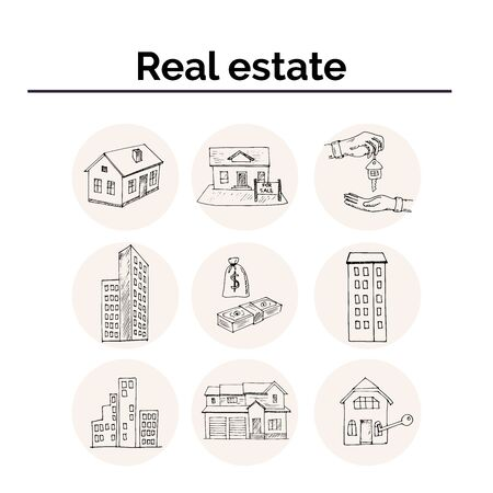 Real Estate hand drawn doodle set. Vector illustration. Isolated elements on white background. Symbol collection.