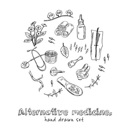 Alternative medicine hand drawn doodle set. Vector illustration. Isolated elements on white background. Symbol collection. Ilustracja