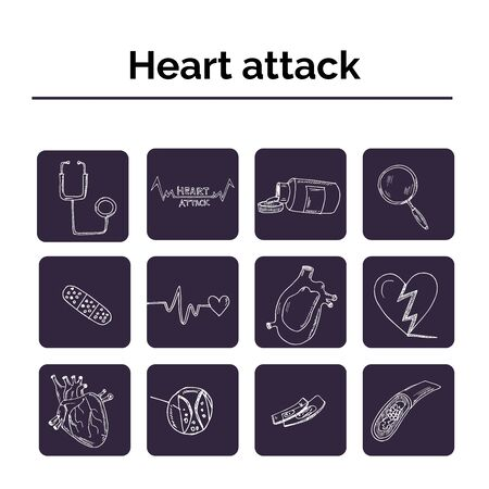 Heart attack hand drawn doodle set. Vector illustration. Isolated elements on white background. Symbol collection.
