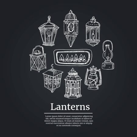Lanterns hand drawn doodle set. Vector illustration. Isolated elements on white background. Symbol collection.