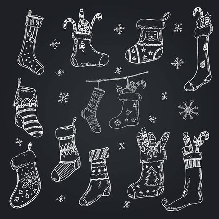 Christmas gift socks hand drawn doodle set. Vector illustration. Isolated elements on white background. Symbol collection.