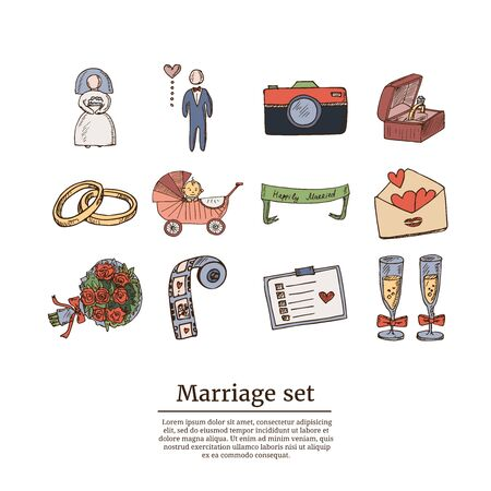 Wedding, marriage, bridal sketch icons set. Isolated vector illustration Standard-Bild - 140643585
