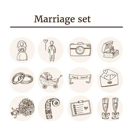 Wedding, marriage, bridal sketch icons set. Isolated vector illustration Standard-Bild - 140643587