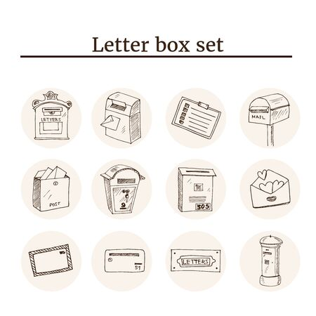 Post service icon black set with logistics shipping and packaging elements isolated vector illustration