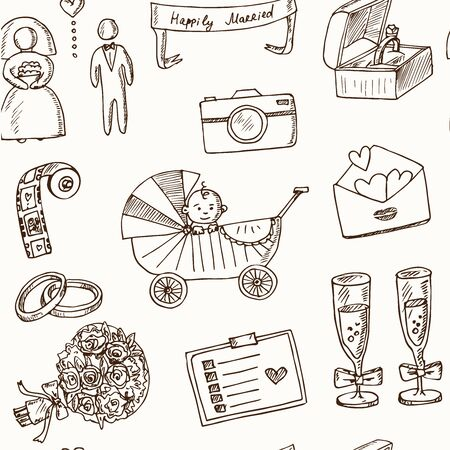 Wedding, marriage, bridal sketch icons set. Isolated vector illustration