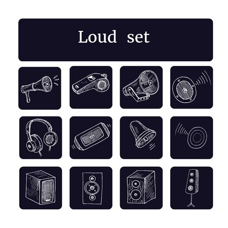 Music line icons. Set of Acoustic guitar, Musical note and Vinyl record linear icons. Jazz saxophone, Drums with drumsticks and DJ controller symbols. Sound check and Music making. Vector Ilustração