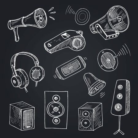Music line icons. Set of Acoustic guitar, Musical note and Vinyl record linear icons. Jazz saxophone, Drums with drumsticks and DJ controller symbols. Sound check and Music making. Vector Ilustrace