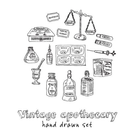 Vintage apothecary hand drawn doodle set. Vector illustration. Isolated elements on white background. Symbol collection.
