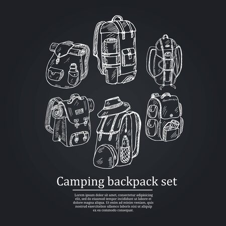 Camping backpack hand drawn doodle set. Vector illustration. Isolated elements on white background. Symbol collection. Vecteurs