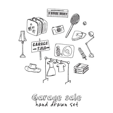 Garage hand drawn doodle set. Vector illustration. Isolated elements on white background. Symbol collection. Ilustracja