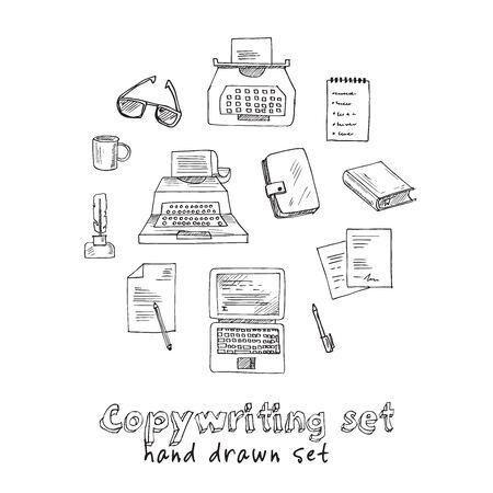 Copywriting doodle set vector isolated objects Ilustracja