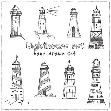 Lighthouse hand drawn doodle set. Vector illustration. Isolated elements on white background. Symbol collection.
