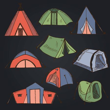 Hiking and camping hand drawn doodle set. Vector illustration. Isolated elements on white background. Symbol collection.
