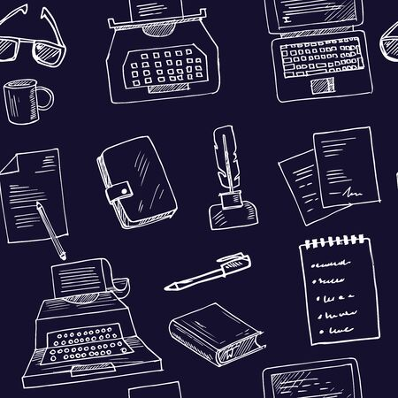 Copywriting doodle seamless pattern vector isolated objects Ilustracja