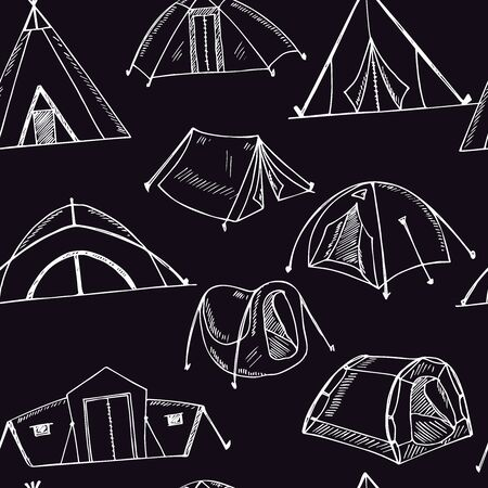 Hiking and camping hand drawn doodle seamless pattern. Vector illustration. Isolated elements on white background. Symbol collection.