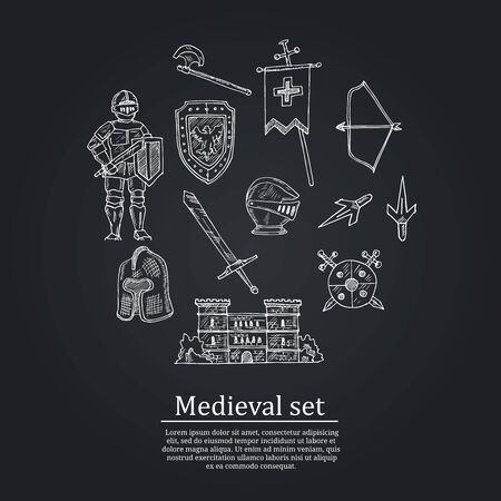 Medieval doodle set Vector isolated obkects
