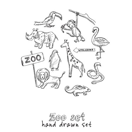 Zoo hand drawn doodle set. Isolated elements on white background. Symbol collection.