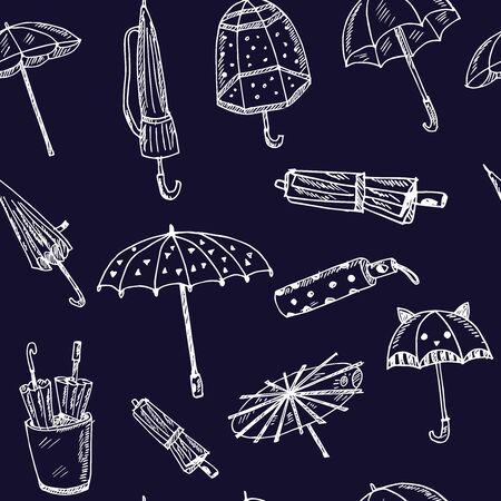 Umbrella hand drawn doodle seamless pattern. Isolated elements on white background. Symbol collection. Ilustração