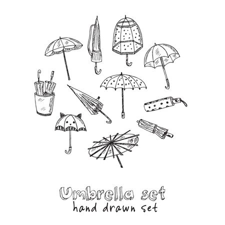 Umbrella hand drawn doodle set. Isolated elements on white background. Symbol collection.