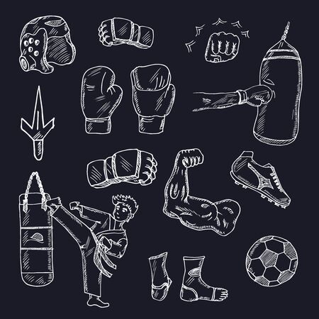Strong hand drawn doodle set. Vector illustration. Isolated elements on white background. Symbol collection.