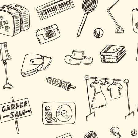 Garage hand drawn doodle seamless pattern. Vector illustration. Isolated elements on white background. Symbol collection.
