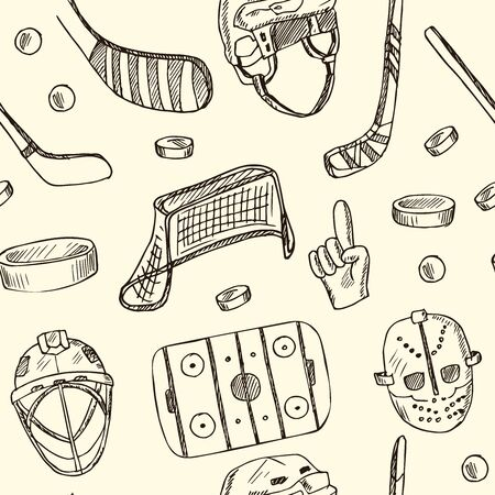 Puck hand drawn doodle seamless pattern. Vector illustration. Isolated elements on white background. Symbol collection.