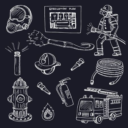 Hydrant hand drawn doodle set. Vector illustration. Isolated elements on white background. Symbol collection.