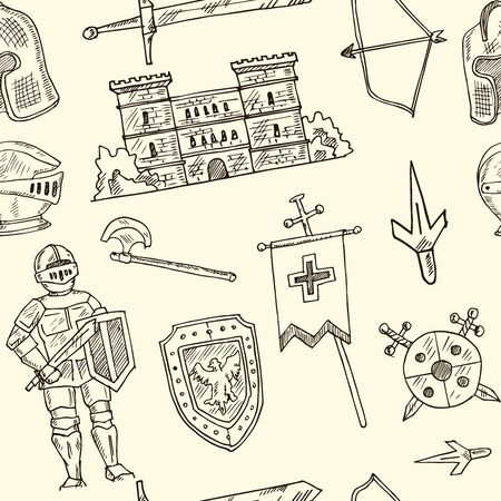 Medieval doodle seamless pattern Vector isolated objects