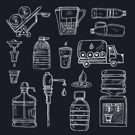 Water delivery hand drawn doodle set. Isolated elements on white background. Symbol collection. Vecteurs
