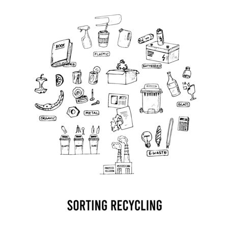 Sorting recycling isolated hand drawn doodles Vector