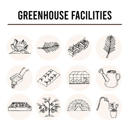 Greenhouse facilities isolated hand drawn doodles Vector Ilustracja