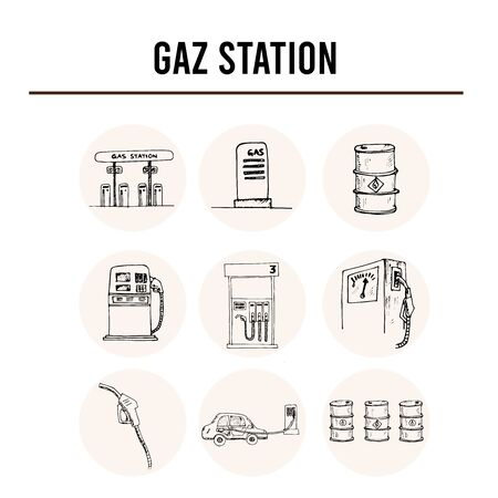 Gas station isolated hand drawn doodles Vector set 向量圖像