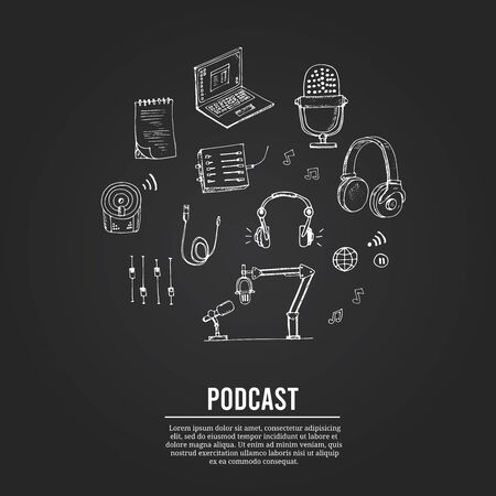Podcast isolated hand drawn doodles Vector set