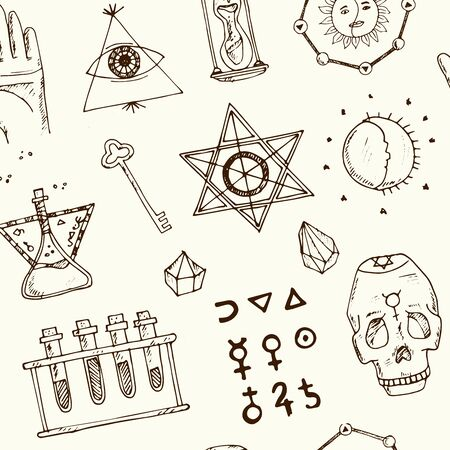 Alchemy isolated hand drawn doodles Vector