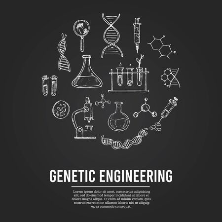 Genetic engineering isolated hand drawn doodles Vector